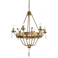 traditional 6 light chandelier in gold patina finish