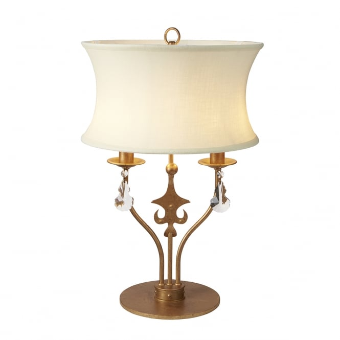 WINDSOR traditional 2 light table lamp in gold patina with fabric shade
