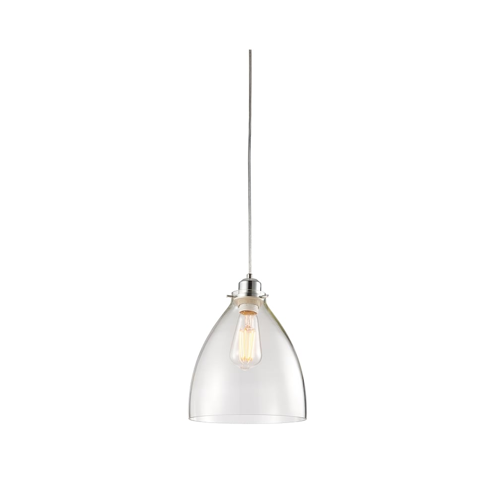 Easy Fit Clear Glass Ceiling Pendant Shade With Chrome Trim
