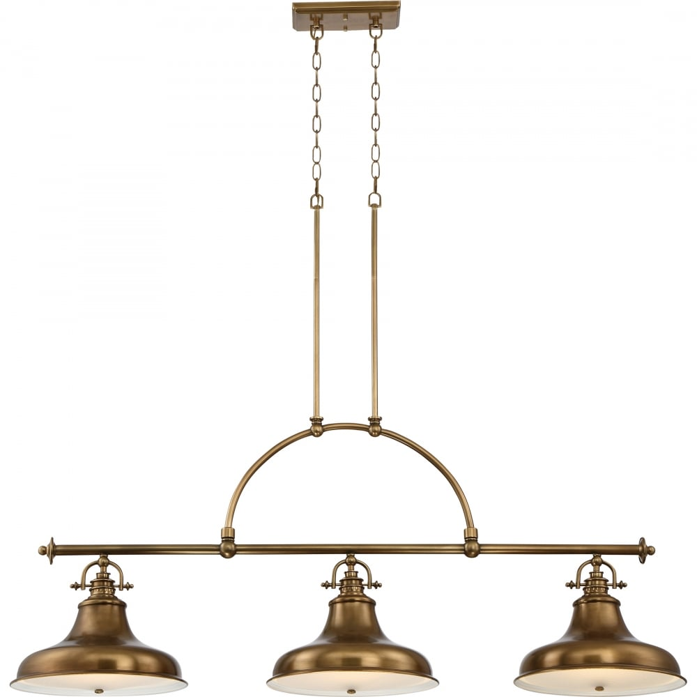 Weathered Brass 3 Light Ceiling Pendant Bar With White Glass