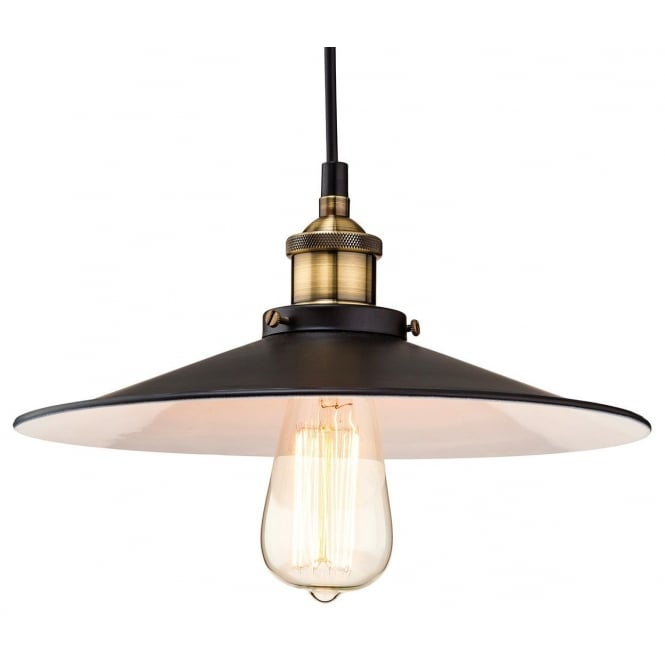 EMPIRE industrial vintage style black and antique brass ceiling pendant