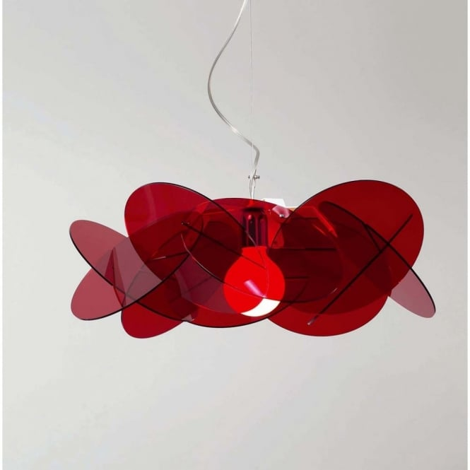 Emporium BEA modern Italian red ceiling pendant for high ceilings