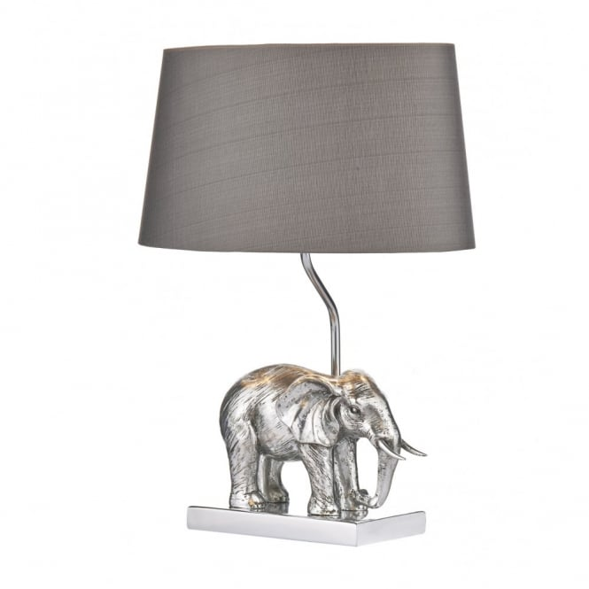 Decorative aged silver table lamp with elephant sculpture shade enrique aged silver elephant design table lamp with shade mozeypictures Gallery
