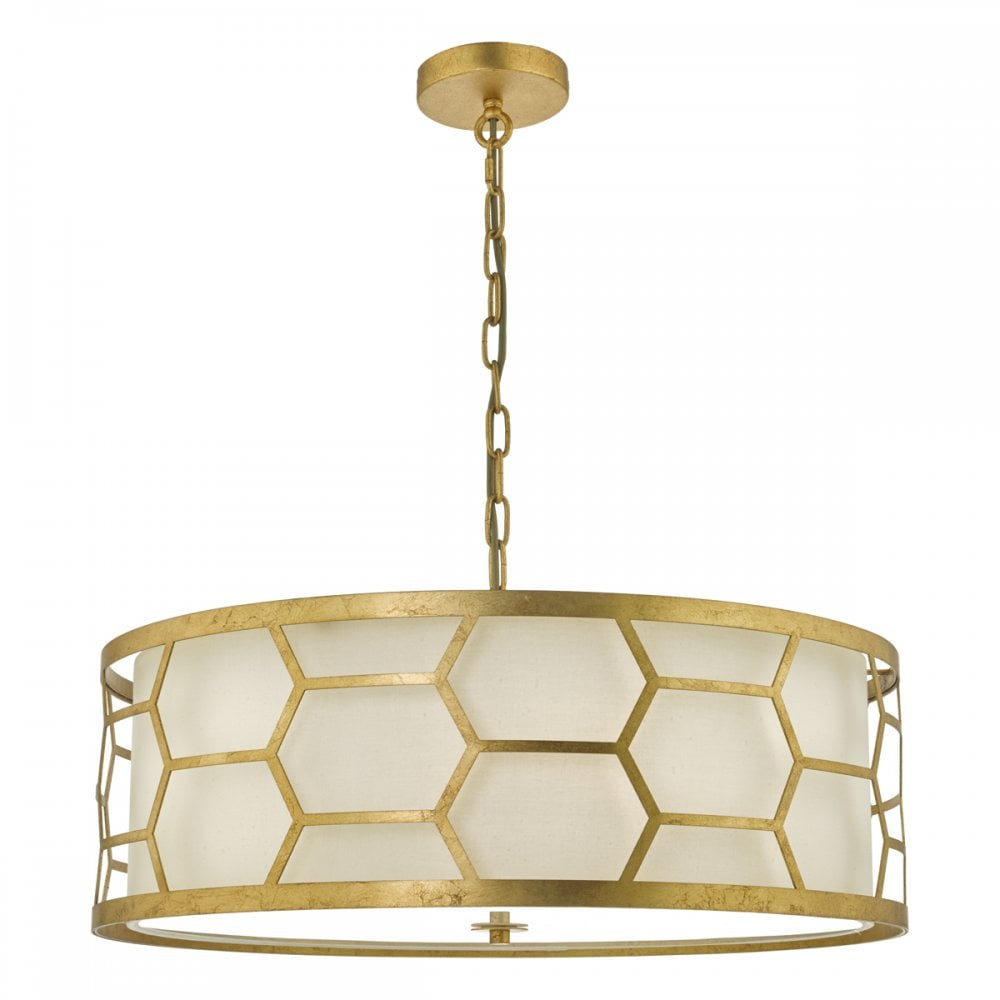 Epstein 4lt gold ceiling pendant with ivory inner shade