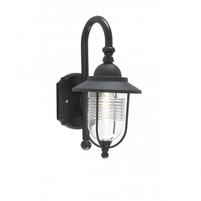 Traditional Black Outdoor Wall Lantern In Fishermans Style Ip44