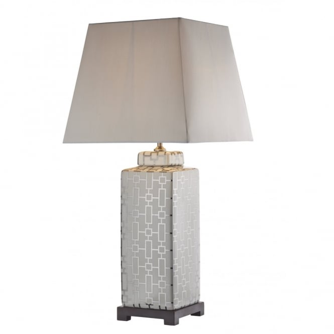 Contemporary cream silver design table lamp base switched evelyn silver cream table lamp base with geometric design aloadofball Images