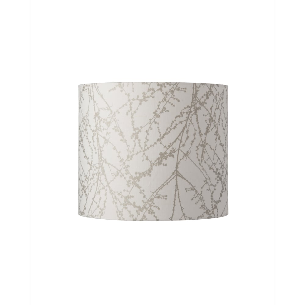 Fabric Branch Pattern Lamp Shade In White And Silver