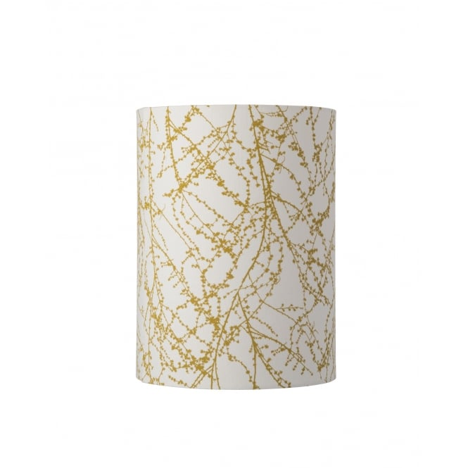 FABRIC tall lamp shade in white with ochre yellow branch detail