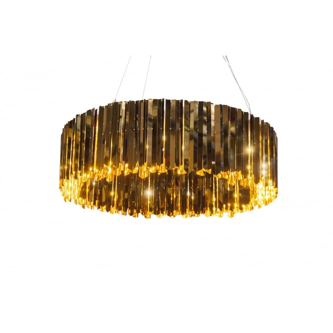 FACET 100 polished bronze metallic strip chandelier