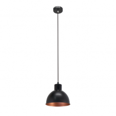 FACTORY retro ceiling pendant with black outer and copper inner