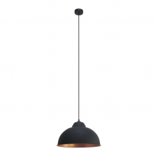 FACTORY retro style traditional ceiling pendant in black with copper inner