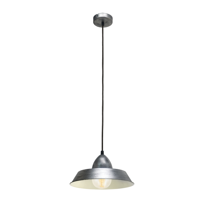 FACTORY rustic industrial design ceiling pendant in an antique silver finish