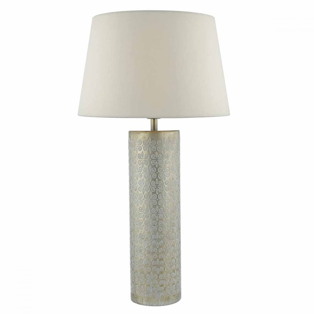 Brushed gold ceramic table lamp base with embossed detail
