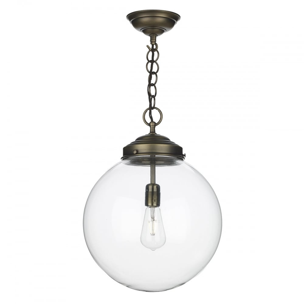Glass globe ceiling pendant with antique brass chain suspension aloadofball Choice Image