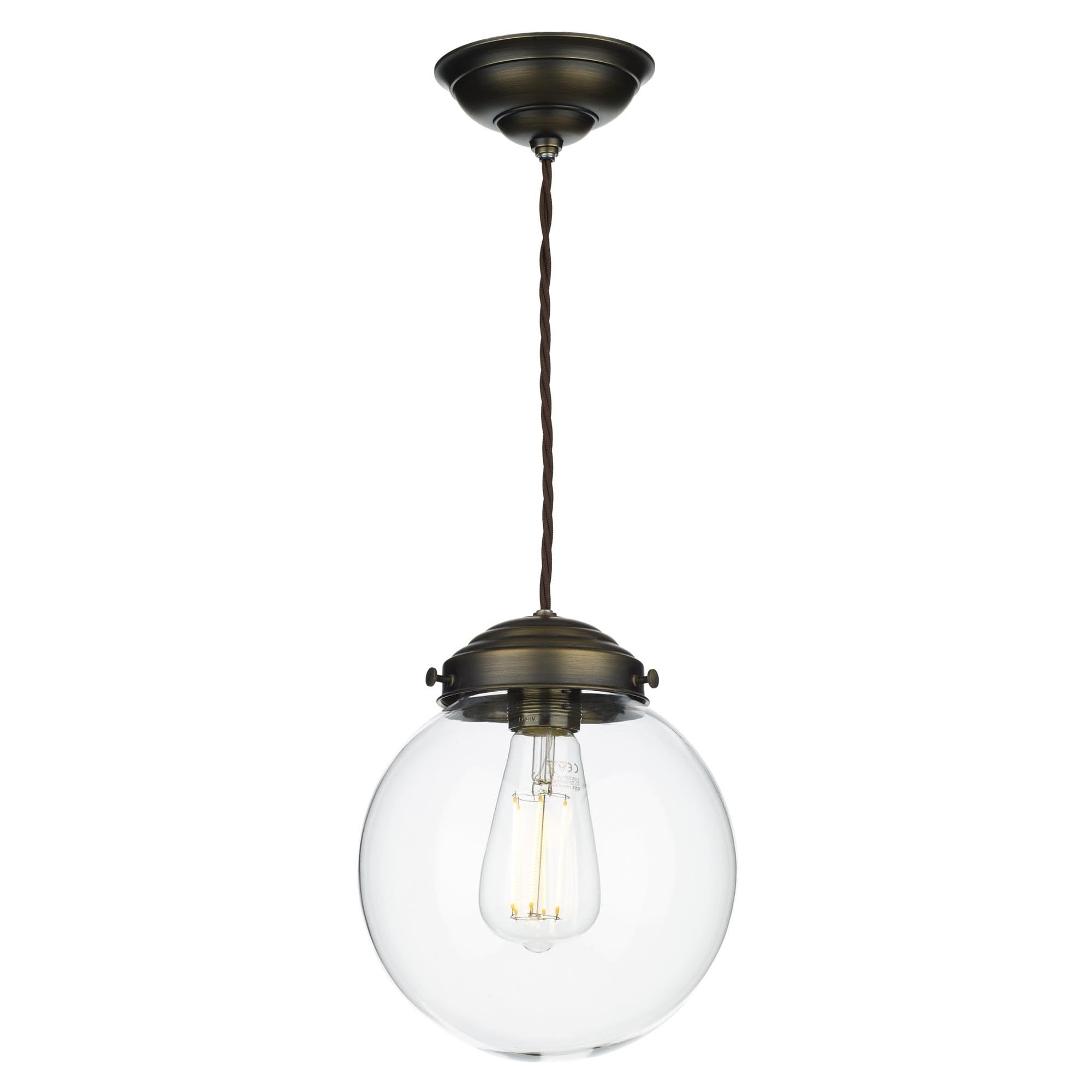Picture of: Clear Glass Globe Ceiling Pendant With Antique Brass Suspension