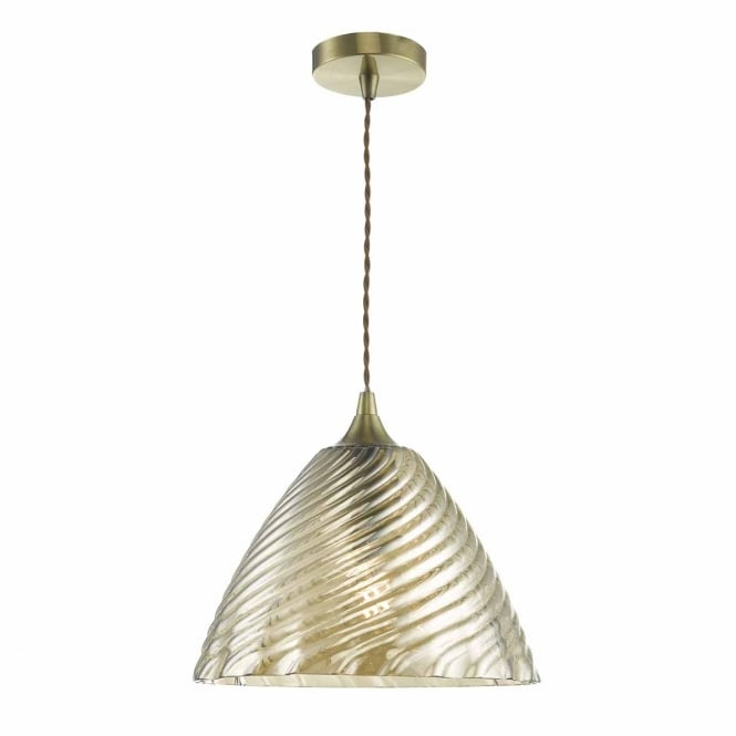 FAYE antique brass pendant with champagne glass shade