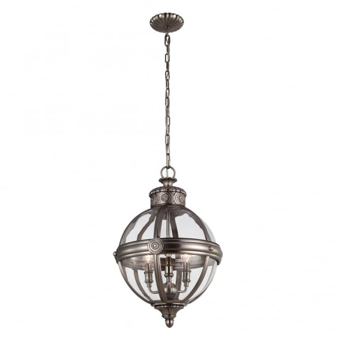 Feiss ADAMS Victorian inspired classic glass orb 3lt chandelier in antique nickel