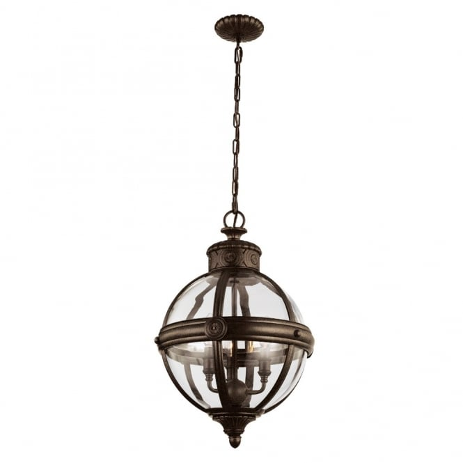 ADAMS Victorian inspired classic glass orb 3lt chandelier in British bronze