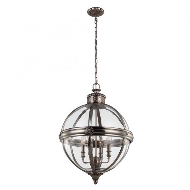 Victorian style glass globe 4lt chandelier for period homes in nickel decorative victorian inspired glass globe ceiling pendant with antique nickel frame aloadofball Image collections