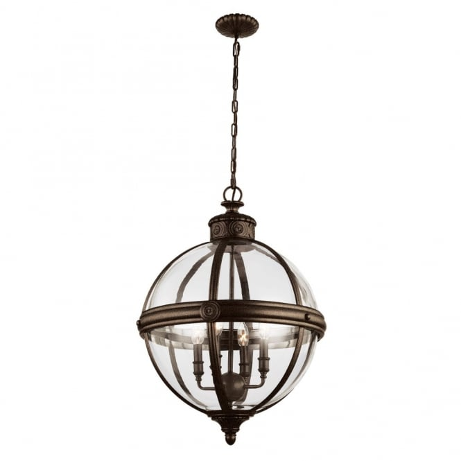 Feiss ADAMS Victorian inspired classic glass orb 4lt chandelier in British bronze