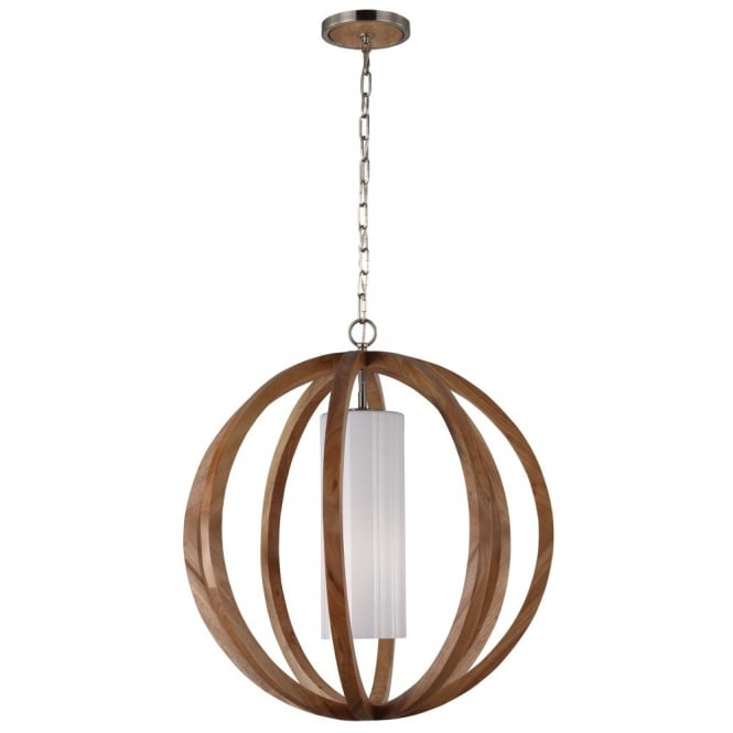 Feiss ALLIER contemporary light wood large globe frame ceiling pendant with inner diffuser