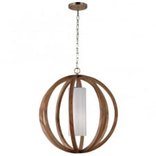 ALLIER contemporary light wood large globe frame ceiling pendant with inner diffuser