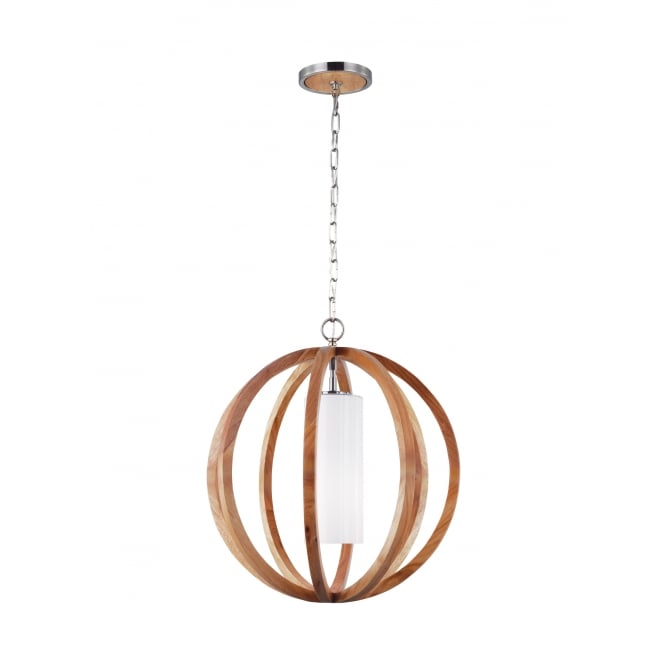 Feiss ALLIER rustic light wood and brushed steel ceiling pendant
