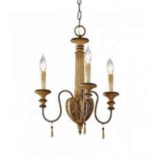 ANNABELLE 3 light mini chandelier, wood effect ivory crackle finish