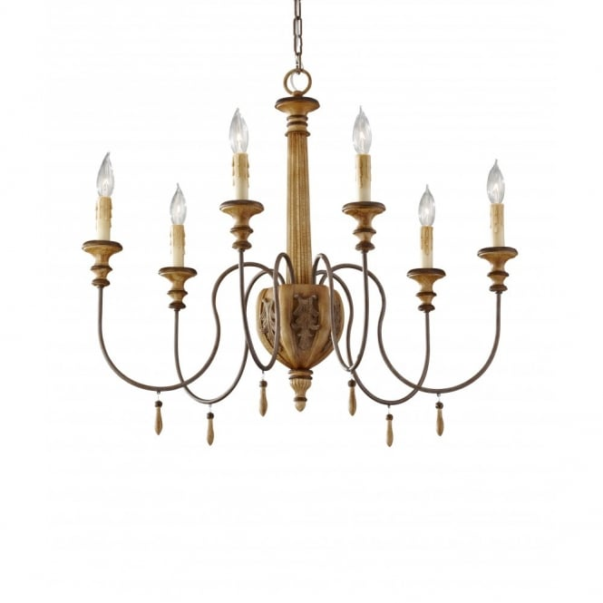 Feiss ANNABELLE 6 light chandelier, wood effect ivory crackle finish