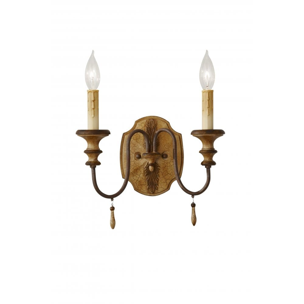 Traditional Double Wall Light, Wood Effect Ivory Crackle Finish
