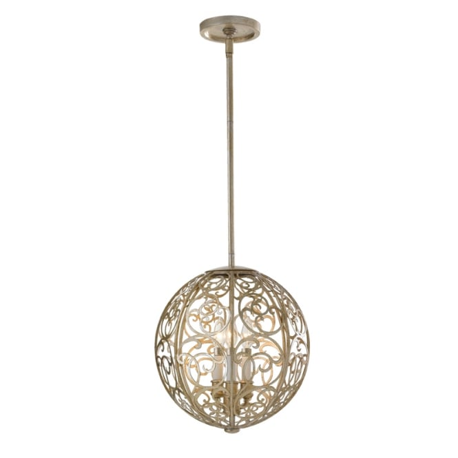 Feiss ARABESQUE 3 light globe silver leaf ceiling pendant