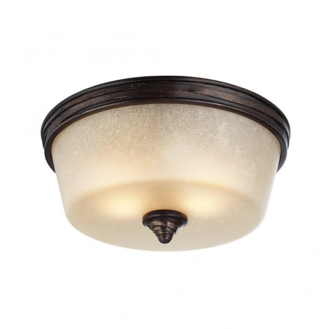 Feiss ARBOR CREEK rustic traditional flush ceiling light in bronze with speckled glass shade