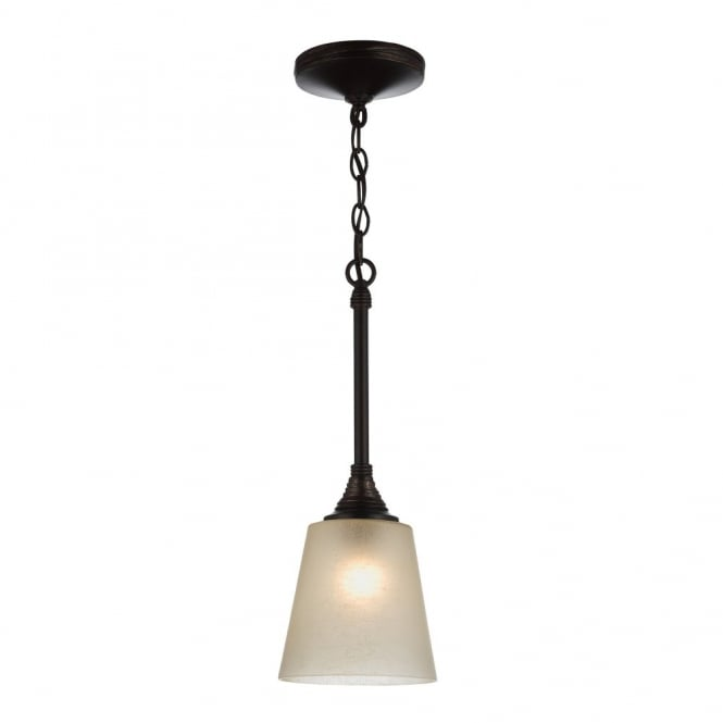 Feiss ARBOR CREEK rustic traditional mini ceiling pendant in bronze with speckled glass shade