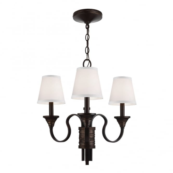 ARBOR CREEK traditional period style 3lt chandelier in bronze with ivory shades