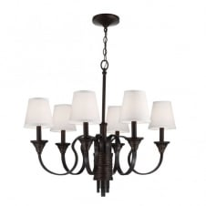 ARBOR CREEK traditional period style 6lt chandelier in bronze with ivory shades