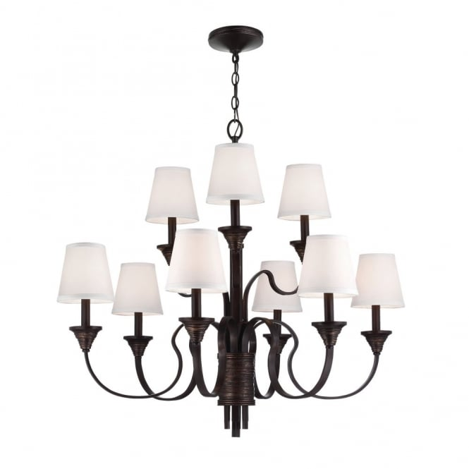Feiss ARBOR CREEK traditional period style 9lt chandelier in bronze with ivory shades