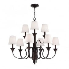 ARBOR CREEK traditional period style 9lt chandelier in bronze with ivory shades