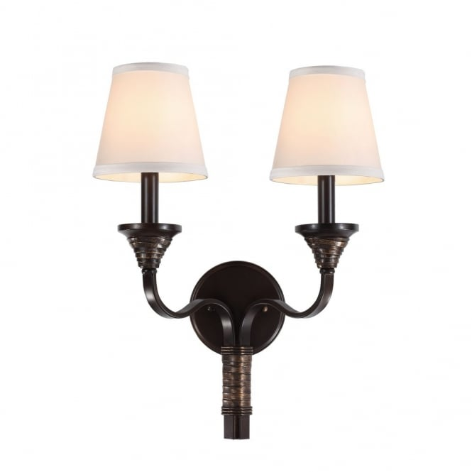 Feiss ARBOR CREEK traditional period style double wall light in bronze with ivory shades