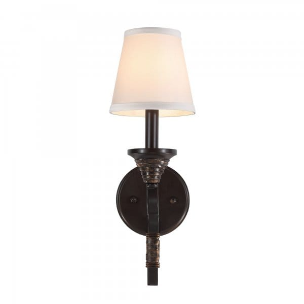 Bronze Wall Sconce With Shade : Traditional Bronze Wall Sconce with Ivory Shade for Period Settings