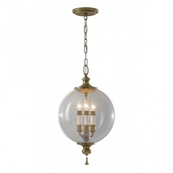 Traditional Ceiling Pendant Light Globe Shape Silver
