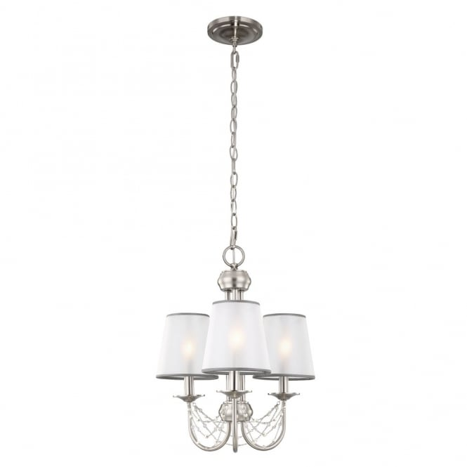 Feiss AVELINE decorative crystal draped brushed steel 3lt chandelier with organza shades