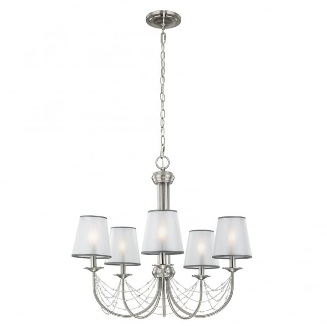 Feiss AVELINE decorative crystal draped brushed steel 5lt chandelier with organza shades