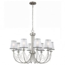 AVELINE decorative crystal draped brushed steel 8lt chandelier with organza shades