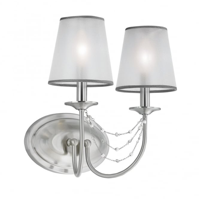 AVELINE decorative crystal draped brushed steel double wall light with organza shades