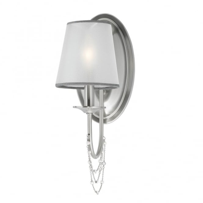 Feiss AVELINE decorative crystal draped brushed steel wall light with organza shade