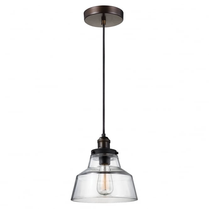 Feiss BASKIN single contemporary pendant in aged brass and dark zinc with clear glass shade