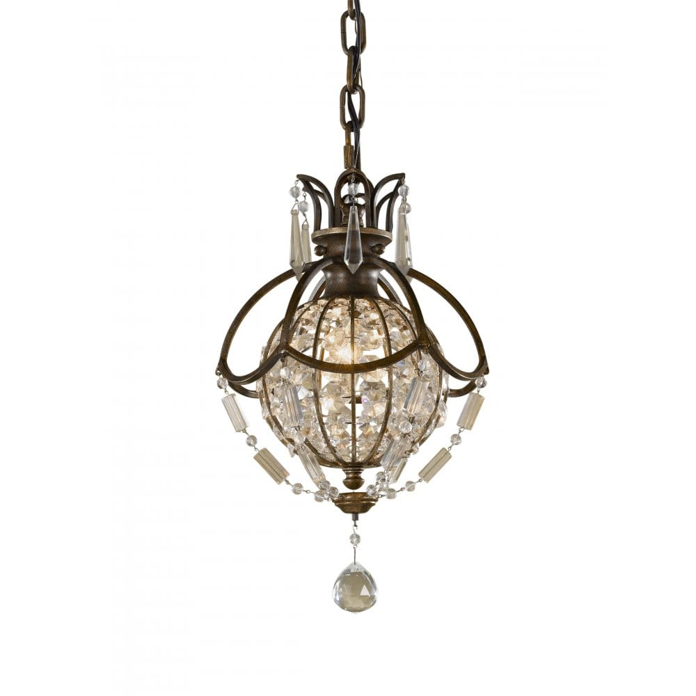 Feiss bellini chandelier style mini pendant light bronze with crystal - Ceiling lights and chandeliers ...
