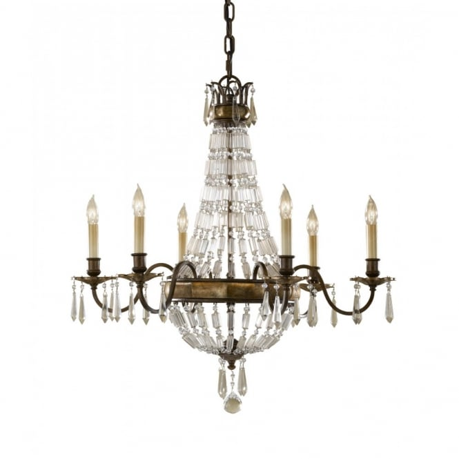 Feiss BELLINI traditional 6 light bronze chandelier with antique crystal