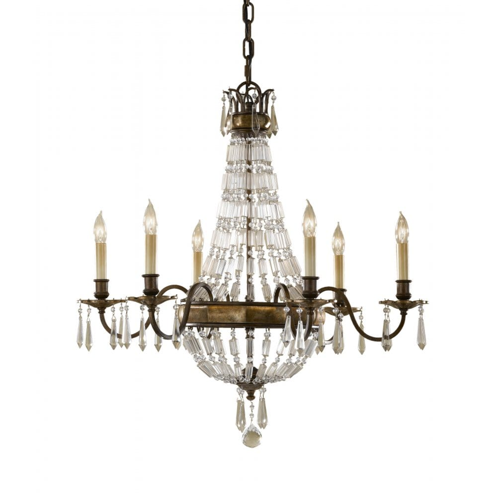 Traditional antique bronze and crystal chandelier 6 candle light - Traditional crystal chandeliers ...