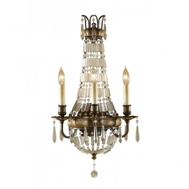 Feiss BELLINI traditional wall sconce, bronze with antique crystal